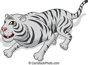 Aggresive white tiger cartoon - Vector Illustration Of...