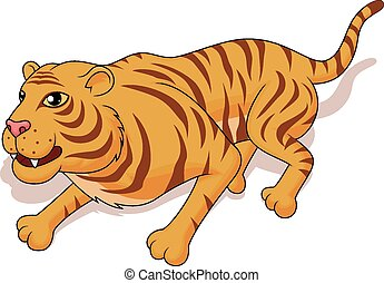 Aggresive tiger cartoon - Vector Illustration Of Aggresive...