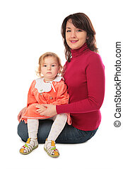 mother with baby full body isolated