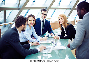 Panel discussion - Group of business people planning...