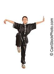 Wushu, menina, posição