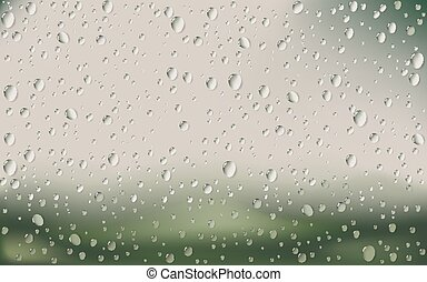 Water Drop On Glass - Vector Illustration Of Water Drop On...