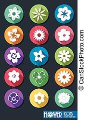 Set of Flowers Flat Design - Vector Illustration Of Set of...