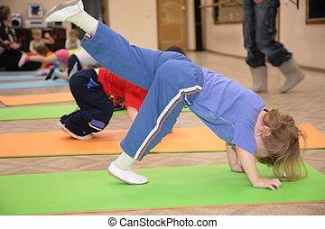 niña, ocupado, gimnasia, 5