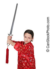 Wushu girl with sword - teenager with sword