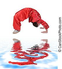 Wushu girl training