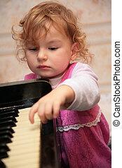 kevés, leány, zongora