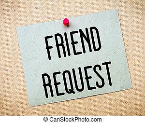 message, demande, ami