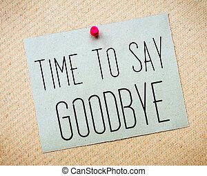 tiempo, a, decir, adiós, mensaje,