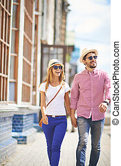 City break - Couple walking in the city