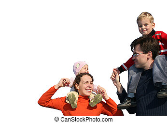 family with children on shoulders isolated