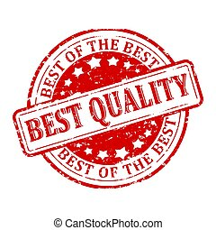 Damaged round red stamp - the best quality, the best of the...