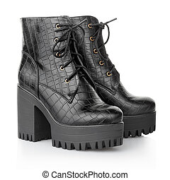 Black high heel crocodile woman boots