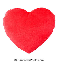 Heart red pillow, cushion isolated on white, clipping path...