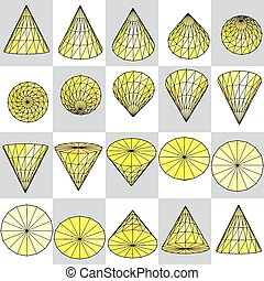 Background of yellow rotating cone on a plaid pattern