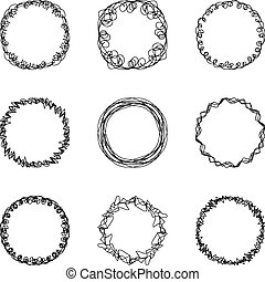 set of nine abstract chaotic round frame brush sketch...