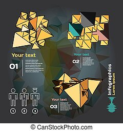 Set for infographics on a dark background with abstract...