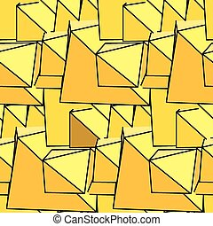 Textile seamless pattern of yellow triangles in warm colors