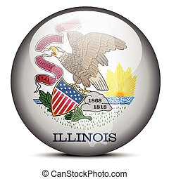 Map on flag button of USA Illinois State