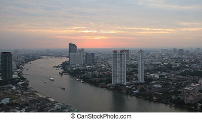 Bangkok City River High View Sunset
