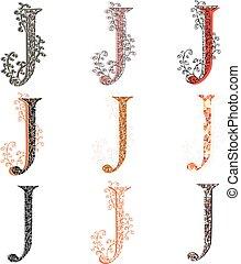 Various fishnet letter J - Set of variations fishnet lace...