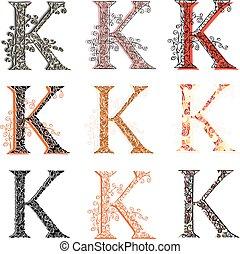 Various fishnet letter K - Set of variations fishnet lace...