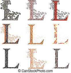 Various fishnet letter L. - Set of variations fishnet (lace)...