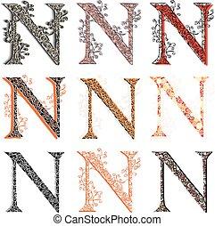 Various fishnet letter N. - Set of variations fishnet (lace)...
