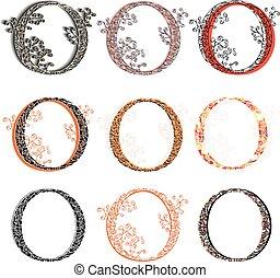Various fishnet letter O - Set of variations fishnet lace...