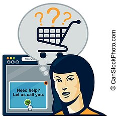 shopper-car-internet-browser - Illustration of a female...