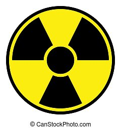 Radiation Warning Sign - Round radiation warning sign on...