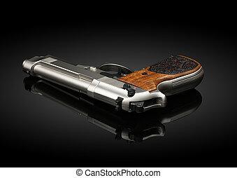 Chromed handgun on black background with reflection