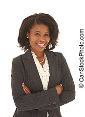 Beautiful African businesswoman with short hair in black...
