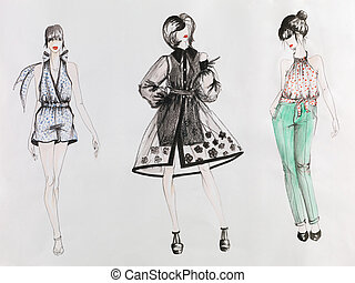 high end fashion - hand drawn fashion sketch. women in...