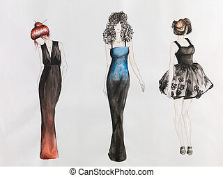 fashion sketch - hand drawn fashion sketch. women in colored...