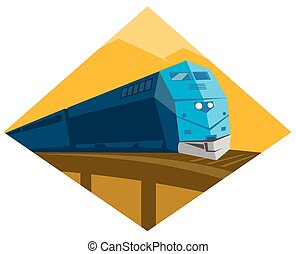 diesel train crossing viaduct bridge - vector illustration...