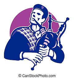 scotsman-bagpipes-front - Illiustration of a scotsman...