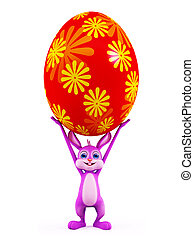 Easter Bunny with colorful eggs - 3d illustration of Easter...