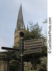 Touristic signpost in front of Chesterfield Parish Church...
