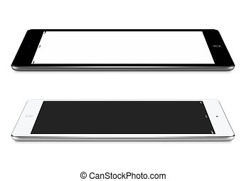 Left and right side view of black and white tablet pc with...