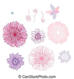 Vector hand draw flowers set isolated on white.