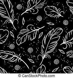 Vector illustration. Seamless pattern of abstract feathers