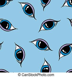 Seamless abstract hand drawn pattern, eyes background.