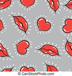 Vector seamless background. lips  and hearts print.