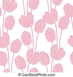 Abstract floral illustration with tulips on pink background.