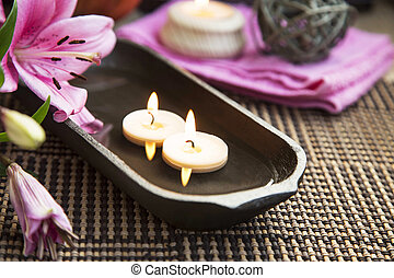 Spa Floating Burning Candles and Lilies - Spa Lilies and...