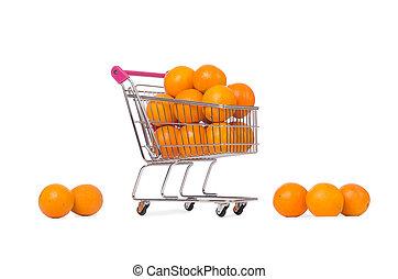 超級市場, 手推車, 充分, ......的, 橙, 被隔离,...
