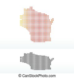 Map of USA Wisconsin State with Dot Pattern