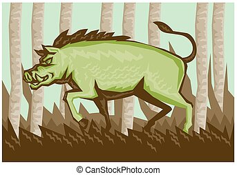 Razorback Wild Pig Boar Attacking