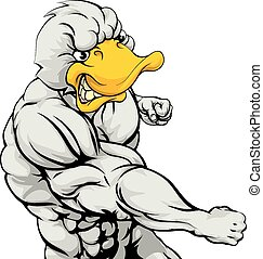 Punching duck mascot - A mean looking duck character mascot...